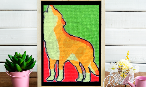 [CROSS STITCH PATTERN] Neon Wolf