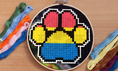 [CROSS STITCH PATTERN] Pan Pride Paw Print (Mini)