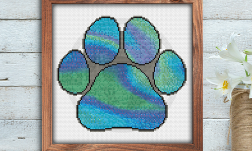 [CROSS STITCH PATTERN] Blue Paw Print