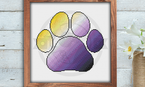 [CROSS STITCH PATTERN] Non-Binary Pride Paw Print