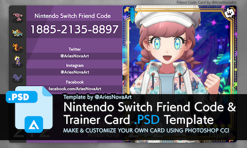 [PHOTOSHOP .PSD TEMPLATE] Pokemon SwSh Switch Friend Code Card